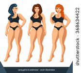 curvy women in underwear. plus... | Shutterstock .eps vector #368634422