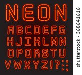 red neon font complete alphabet ...   Shutterstock .eps vector #368641616