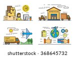 vector black flat logistics and ... | Shutterstock .eps vector #368645732