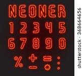 neoner. red neon font  complete ... | Shutterstock .eps vector #368664656