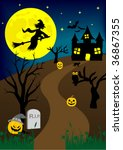 halloween background with old... | Shutterstock .eps vector #36867355