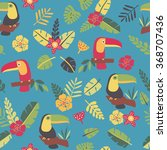 toucans and tropic plants  ... | Shutterstock .eps vector #368707436