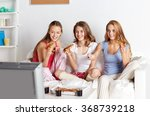 happy friends eating pizza and... | Shutterstock . vector #368739218
