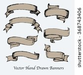 vector hand drawn banners set.... | Shutterstock .eps vector #368743406