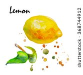 juicy lemon watercolor on paper.... | Shutterstock . vector #368744912