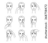set of  woman massaging her... | Shutterstock .eps vector #368758472