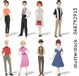 group of retro people wearing...   Shutterstock .eps vector #368792915