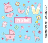 baby girl elements | Shutterstock .eps vector #36882067