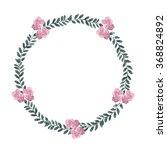 watercolor floral wreath ... | Shutterstock . vector #368824892