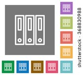 binders flat icon set on color...
