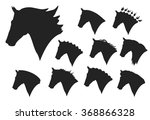 Stock vector head silhouettes of horses on a white background 368866328