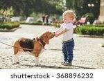 little boy is feeding the... | Shutterstock . vector #368896232
