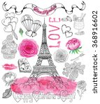 design set with the eiffel... | Shutterstock .eps vector #368916602