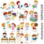 children doing activities at... | Shutterstock .eps vector #368966168