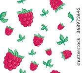 seamless pattern raspberries...   Shutterstock .eps vector #368972642