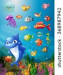 shark and fish swimming under... | Shutterstock .eps vector #368987942