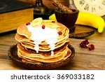 pancake with banana ... | Shutterstock . vector #369033182