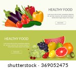 healthy food  banners set.fresh ... | Shutterstock .eps vector #369052475