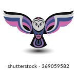 Stock vector abstract image of an owl with open wings vector icon logo colorful image of an owl in pink and 369059582