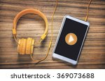 play button on tablet with... | Shutterstock . vector #369073688