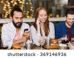 happy friends with smartphones... | Shutterstock . vector #369146936