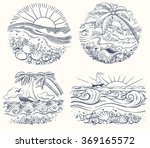 hand drawn set of beautiful... | Shutterstock .eps vector #369165572