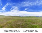 blue skies  white clouds  green ... | Shutterstock . vector #369183446