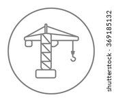 Construction Crane Line Icon.