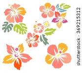 hibiscus flower set   surfing... | Shutterstock .eps vector #369215312