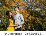 young couple in love outdoor... | Shutterstock . vector #369264518