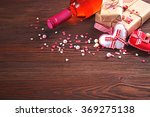 red wine bottle and gift box on ... | Shutterstock . vector #369275138