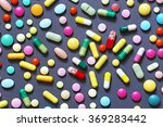 Colorful Pills On Grey...