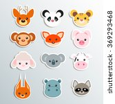animal face stickers | Shutterstock .eps vector #369293468