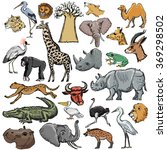 set of african animals with... | Shutterstock .eps vector #369298502