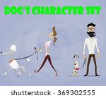 Stock vector cute pets with their owners set every character can use as separate design element pets dogs 369302555