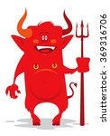 funny cartoon devil with a... | Shutterstock .eps vector #369316706