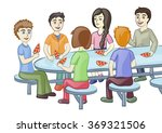 happy friends are having lunch | Shutterstock .eps vector #369321506