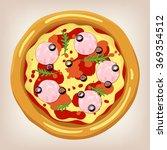 ham and arugula pizza vector...   Shutterstock .eps vector #369354512