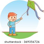 boy playing kite | Shutterstock .eps vector #369356726