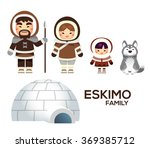 cute vector eskimo family with...