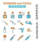 construction workers tools line ... | Shutterstock . vector #369409145