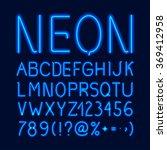 neon glow alphabet   Shutterstock . vector #369412958