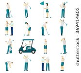 golf people flat set | Shutterstock . vector #369414602