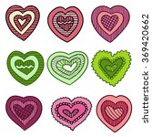 set of vector hearts in... | Shutterstock .eps vector #369420662