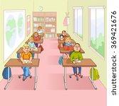children in school cartoon... | Shutterstock . vector #369421676