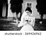 Stylish Brunette Bride Near Ol...