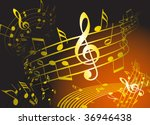 golden music theme with various ... | Shutterstock .eps vector #36946438