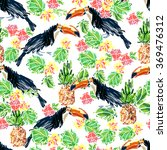 seamless art toucan sketch ... | Shutterstock .eps vector #369476312