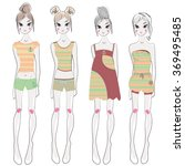 fashion sketch girls | Shutterstock . vector #369495485