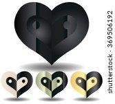 yin yang heart. vector logo. | Shutterstock .eps vector #369506192